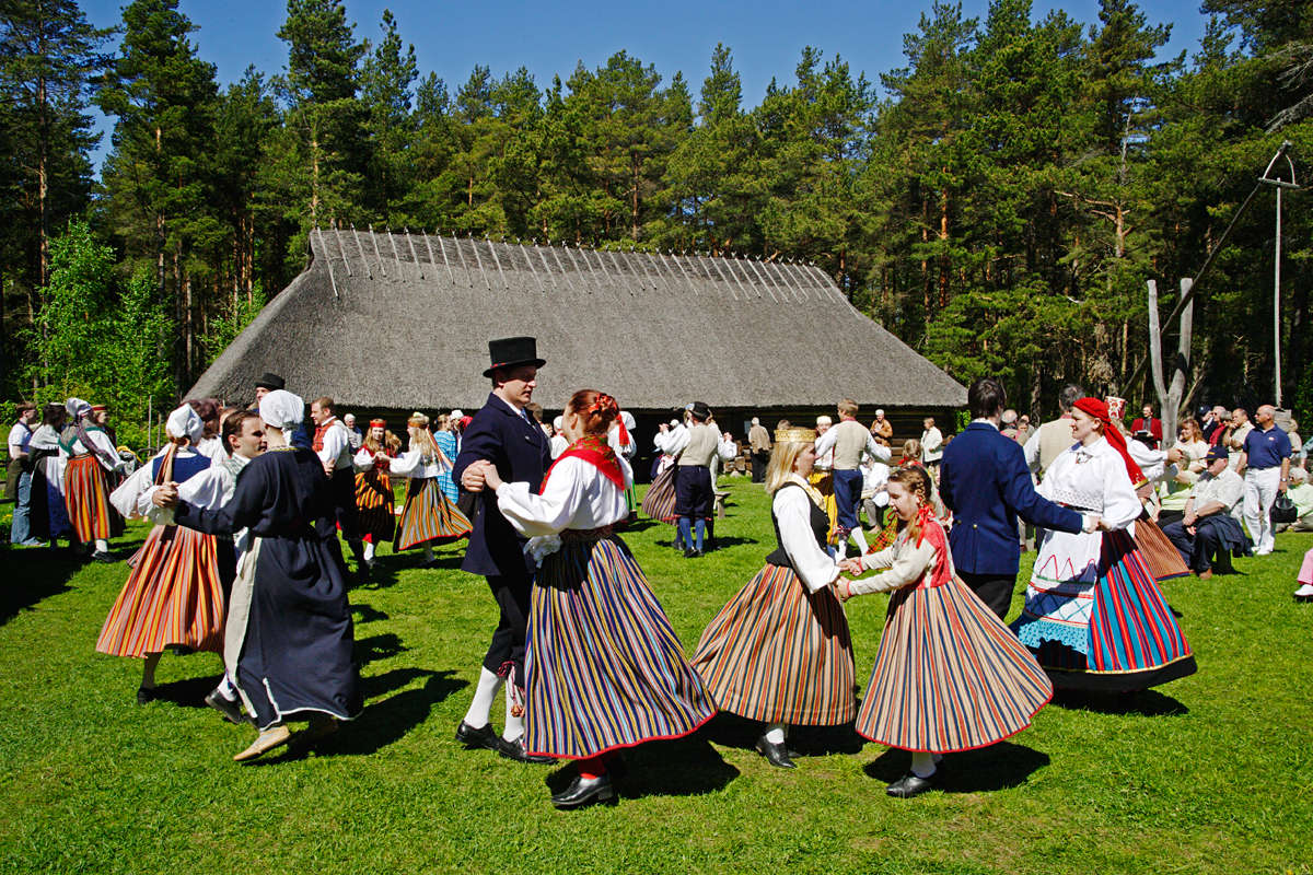 Folk dancers in Estonian Open Air Museum in Tallinn, Estonia.