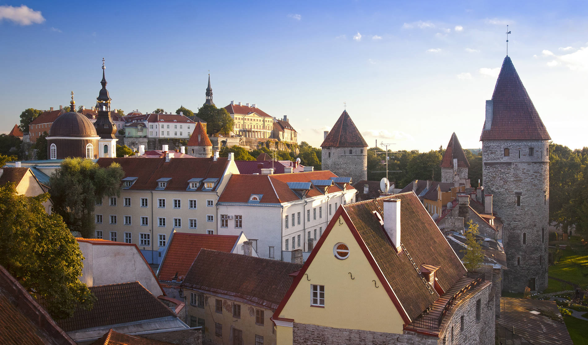 Aerial view of the Old Town, Toompea castle, and the medieval defence towers in Tallinn, Estonia
