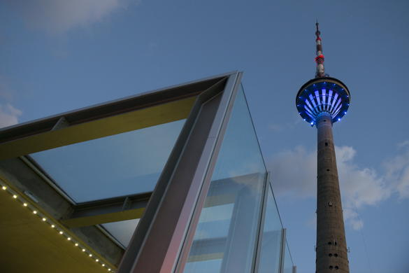 Evening view of the Tallinn TV Tower in Estonia.