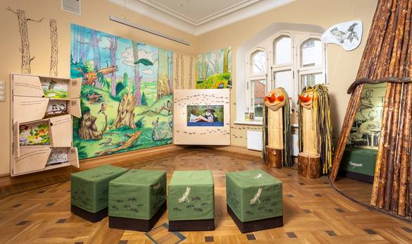 Interior view of the Estonian Children's Literature Centre in the Old Town of Tallinn, Estonia.