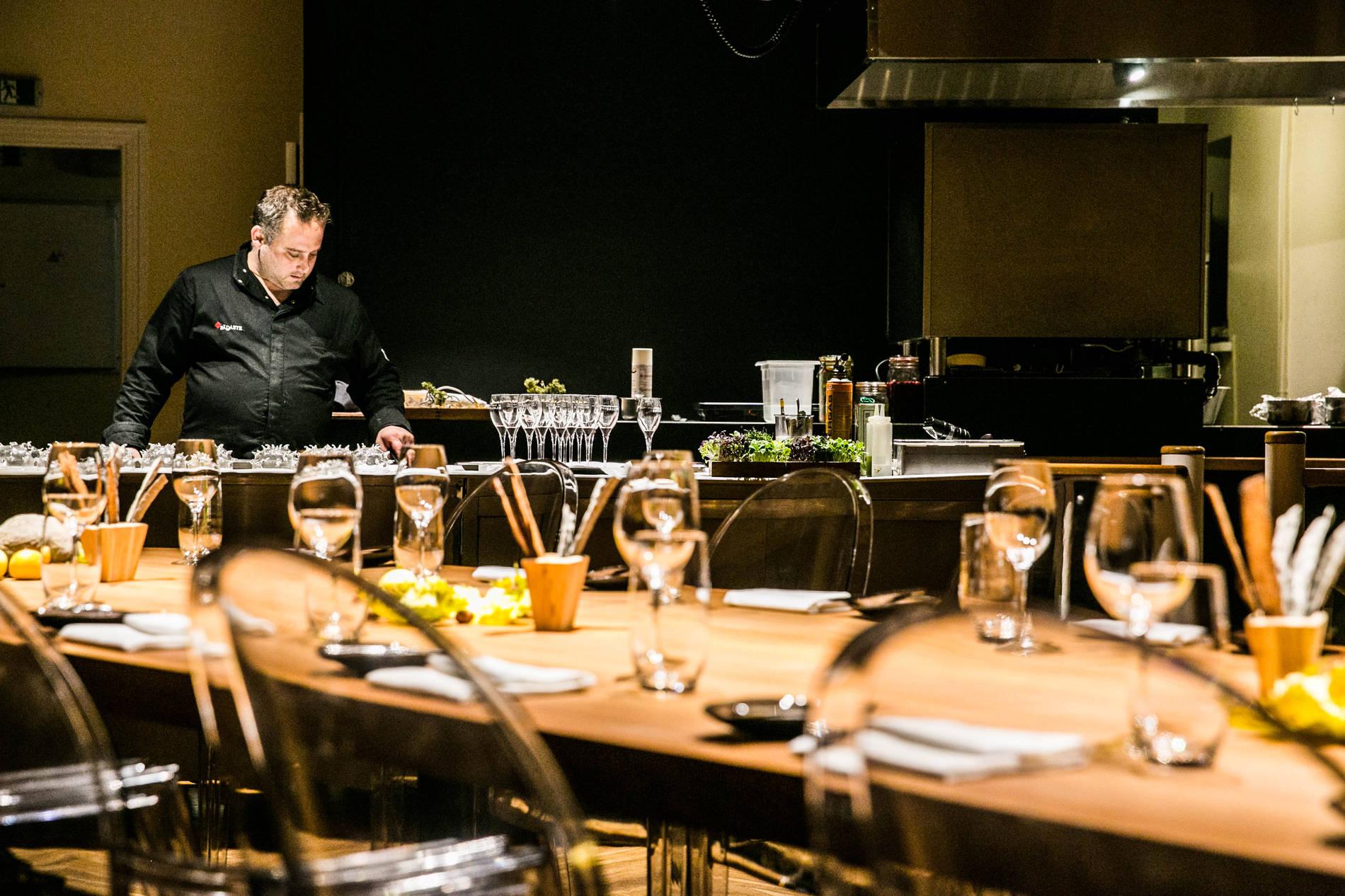 Internal view of the Alexander Chef's Table restaurant in Tallinn, Estonia