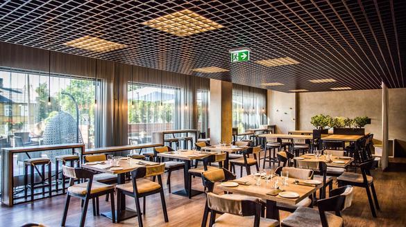 View of the interior of Fredo restaurant in the City Center of Tallinn, Estonia.