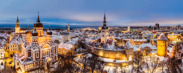 Aerial view of Tallinn Old Town in the winter