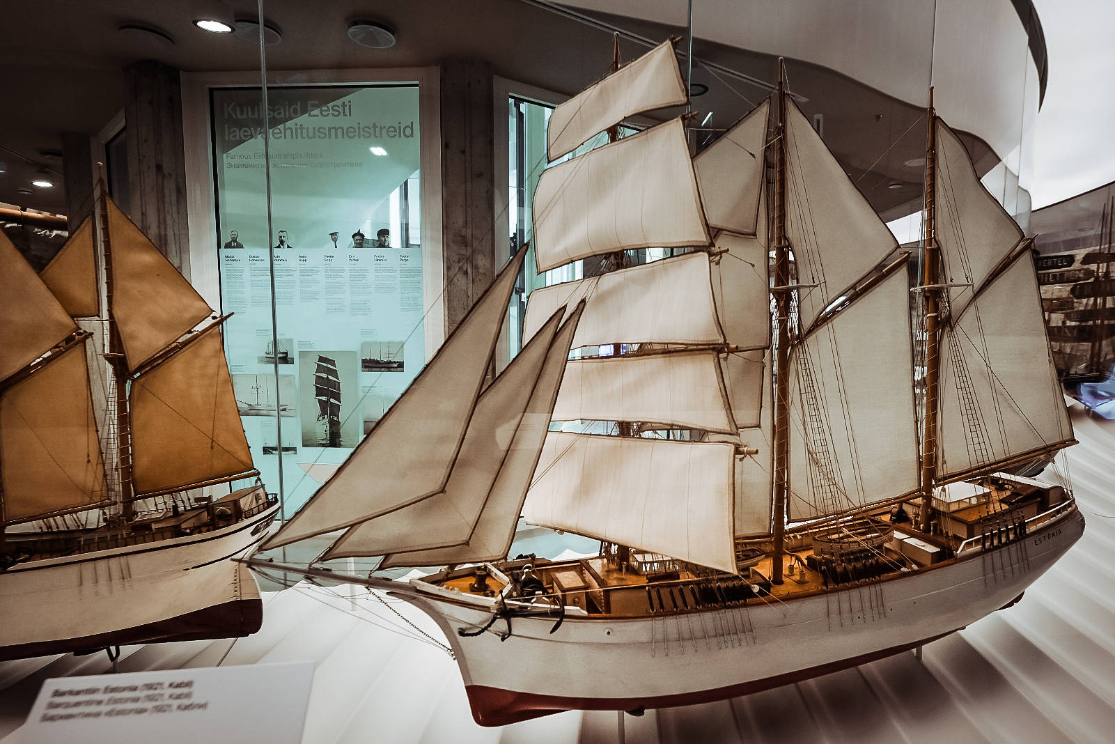 "Ship models at the Tallinn Maritime Museum located in a 16th-century cannon tower called ""Fat Margaret"" in Estonia."