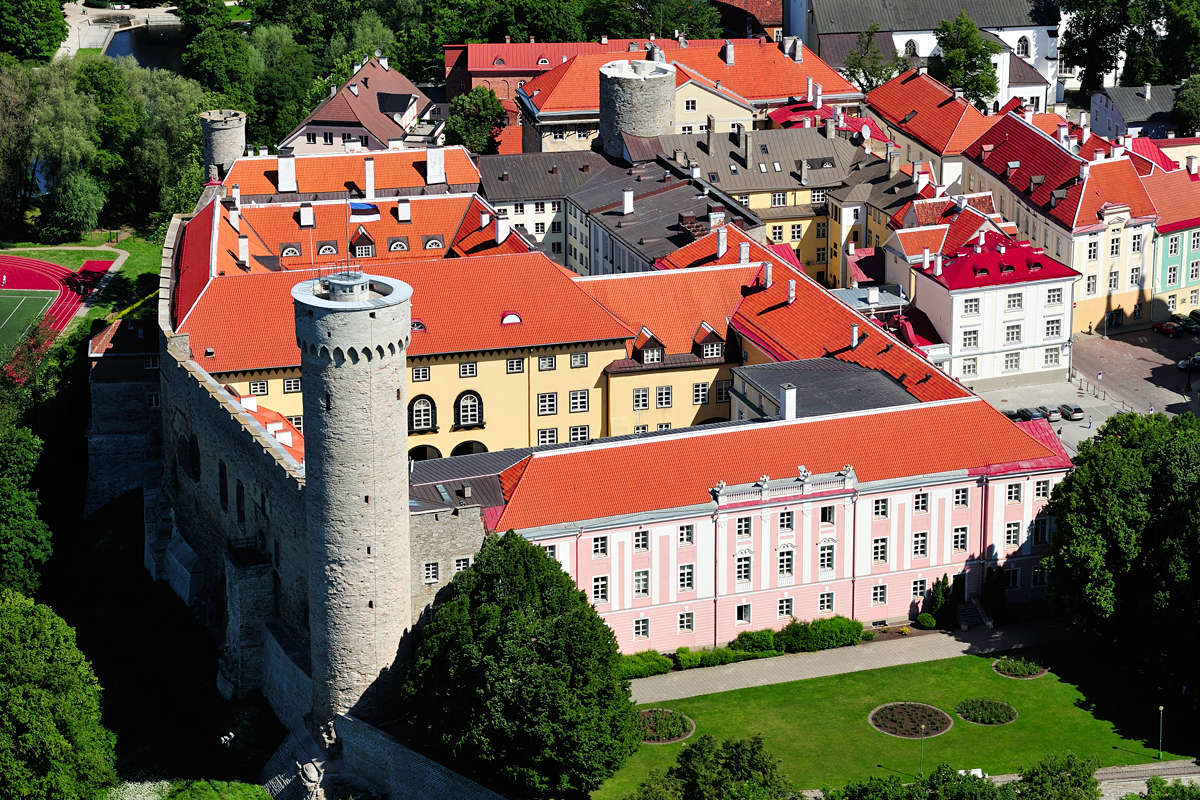 Areal view of the Toompea Castle in Tallinn, Estonia.