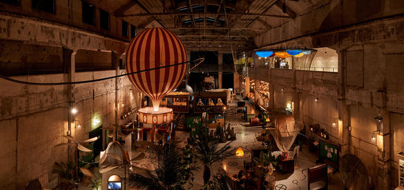 Interior of the Proto Invention Factory with a hot air balloon simulation and other virtual reality gadgets.
