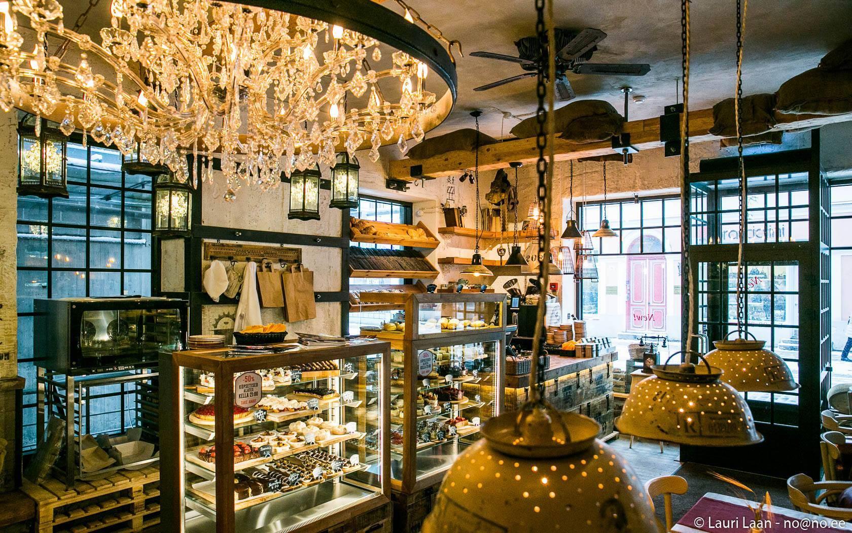 Interior of Rukis café in the Old Town of Tallinn, Estonia