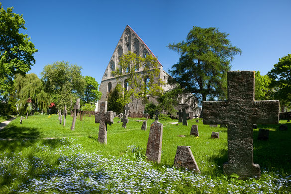 External view of the St. Bridget's Convent ruins in Tallinn, Estonia.
