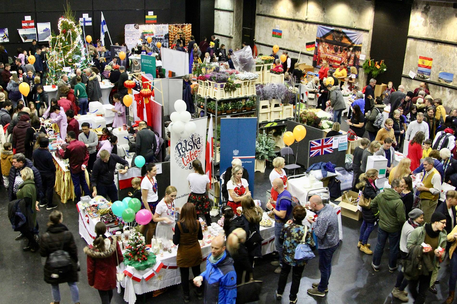 Group of people at the annual Tallinn Christmas Bazaar in Estonia
