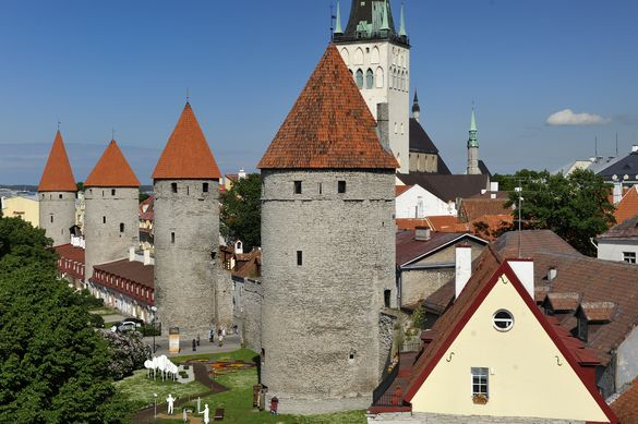 External view of the Köismäe Tower in the Old Town of Tallinn, Estonia.