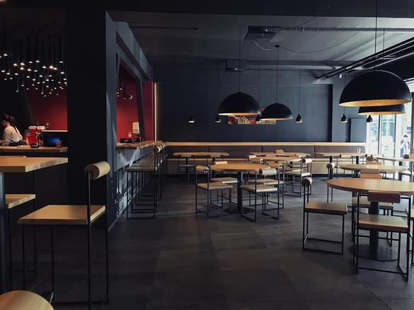 Internal view of the Dou restaurant, located in Tallinn, Estonia.
