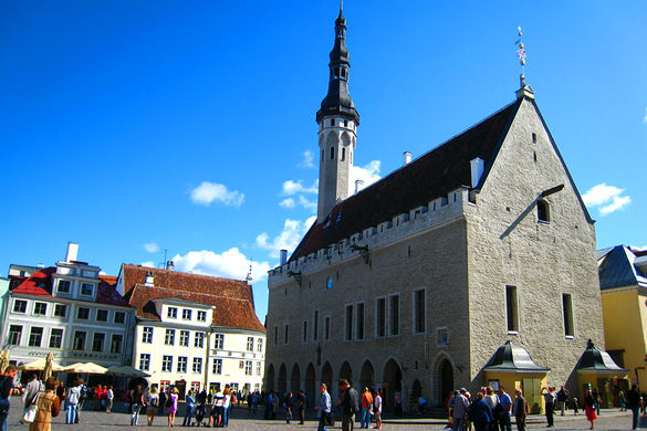 External view of the Tallinn Town Hall in Estonia.