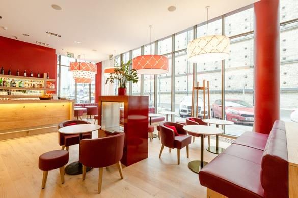 Internal view of the restaurant Vapiano Foorum, located in the city center of Tallinn, Estonia.