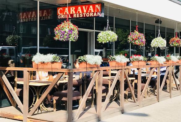 External view of the restaurant Caravan Grill in the city center of Tallinn, Estonia.