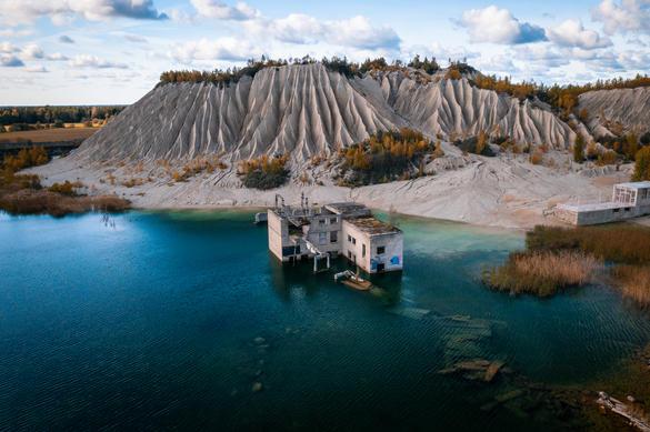 View to the Rummu Quarry in Estonia.