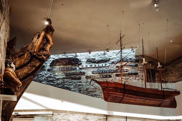 Ship models hanging from the ceiling at the Tallinn maritime Museum, located in 16th century cannon tower called Fat Margaret.