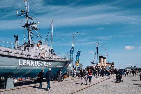 A ship docked at the Seaplane Harbour during Tallinn Maritime Days in Estonia