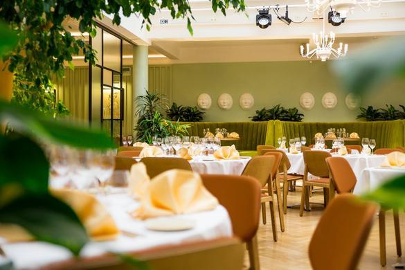 The internal view of the Estonia Restaurant that is located in Tallinn, Estonia.