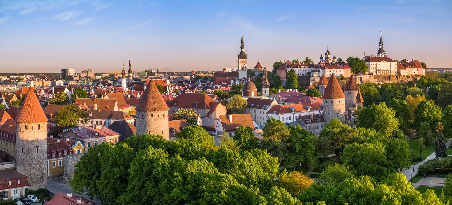 Aerial view of the Old Town in Tallinn, Estonia