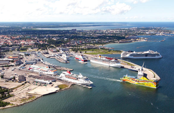 Cruise pier and ships in Tallinn, Estonia