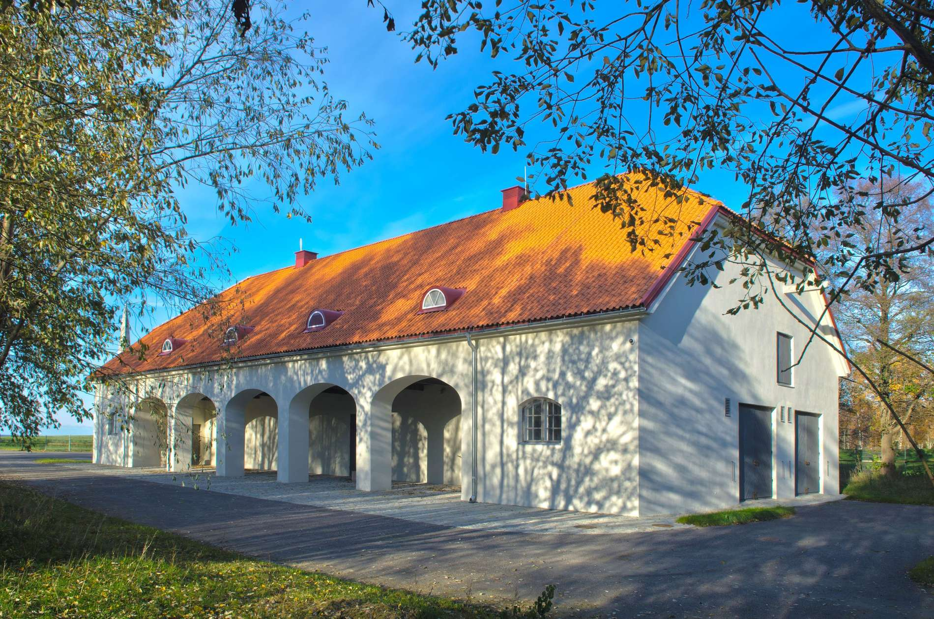 External view of the Maarjamäe Stables - Estonian History Museum in Tallinn, Estonia.