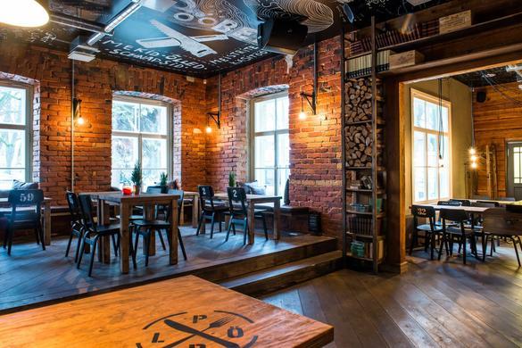Interior of the Pööbel restaurant in Tallinn, Estonia.