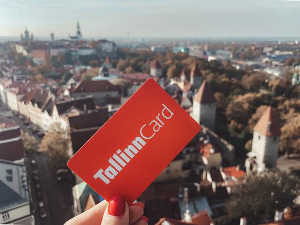 Tallinn Card with the view of the city of Tallinn in Estonia.